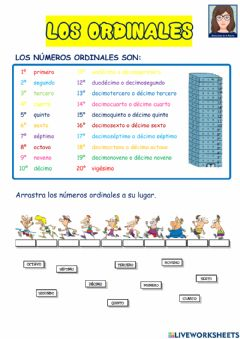 Interactive worksheet LOS ORDINALES. 2º primaria