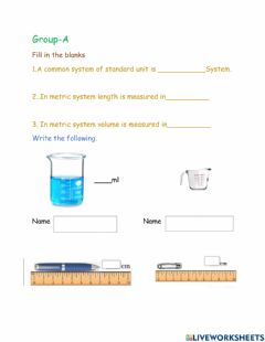Interactive worksheet Measuring of matter L-1 G-A