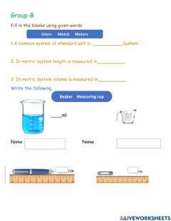 Interactive worksheet Measuring of matter L-1 G-B