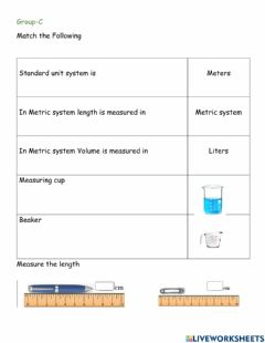 Interactive worksheet Measuring of matter L-1 G-C