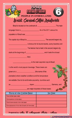 Interactive worksheet Brazil: Carnival, Coffee, and Rainforest