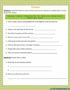 Interactive worksheet Sport and Leisure