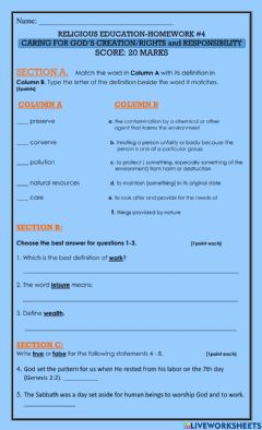 Interactive worksheet Caring for God's Creation-Rights and Responsibilities