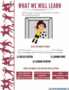 Interactive worksheet Football Learning Intention