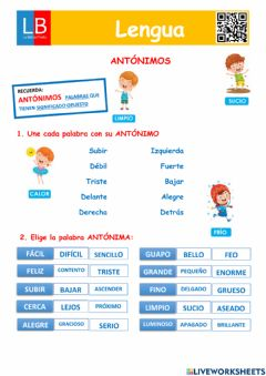 Interactive worksheet Antónimos