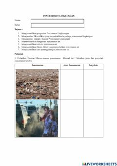 Interactive worksheet Pencemaran Lingkungan