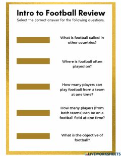 Interactive worksheet Intro to Football Review