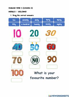 Interactive worksheet Year 3 Module 1 : Lesson 3
