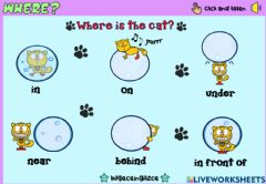 Interactive worksheet Where is the cat?(Drag and drop))