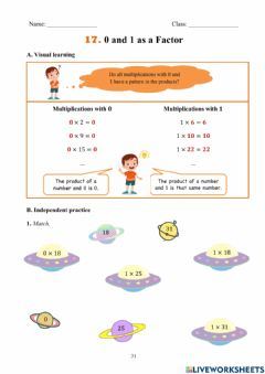 Interactive worksheet 0 and 1 as factor