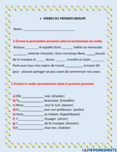 Interactive worksheet Verbes du premier groupe