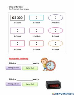 Interactive worksheet Tell the time