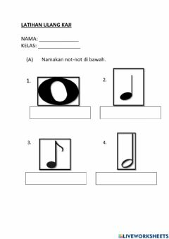Interactive worksheet Music Tahun 4