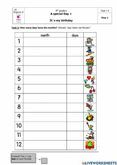 Interactive worksheet A Special Day: Step 1, Task 3