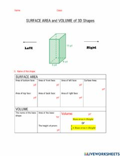 Ficha interactiva Volume and Surface Area of 3D Shapes