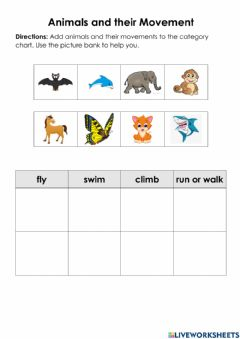 Interactive worksheet Animals and their Movements