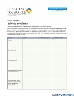 Interactive worksheet Charity and Justice Problems