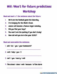 Interactive worksheet Will and Won't for future Predictions