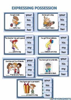 Interactive worksheet Possessive adjectives: her his my your