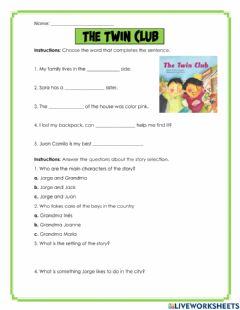 Interactive worksheet The Twin Club
