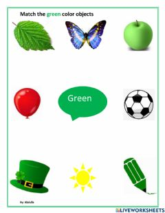 Interactive worksheet Match the green color objects