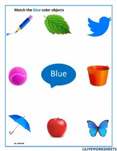 Interactive worksheet Match the blue color objects