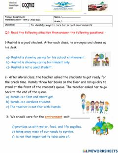 Interactive worksheet Moral Education Homework No. 6