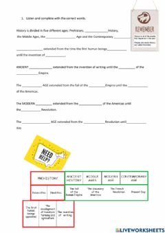 Interactive worksheet Listening review ages