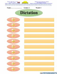 Interactive worksheet Dictation Time for English