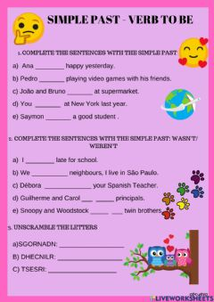 Interactive worksheet Verb to be - Simple  Past