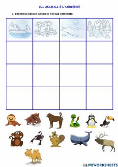 Interactive worksheet Animali e ambiente