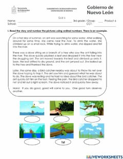 Interactive worksheet 3rd grade quiz 6