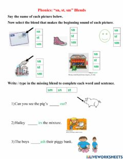 Interactive worksheet Sn st sm Blends