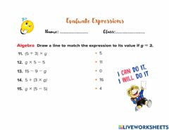 Interactive worksheet Evaluate expressions
