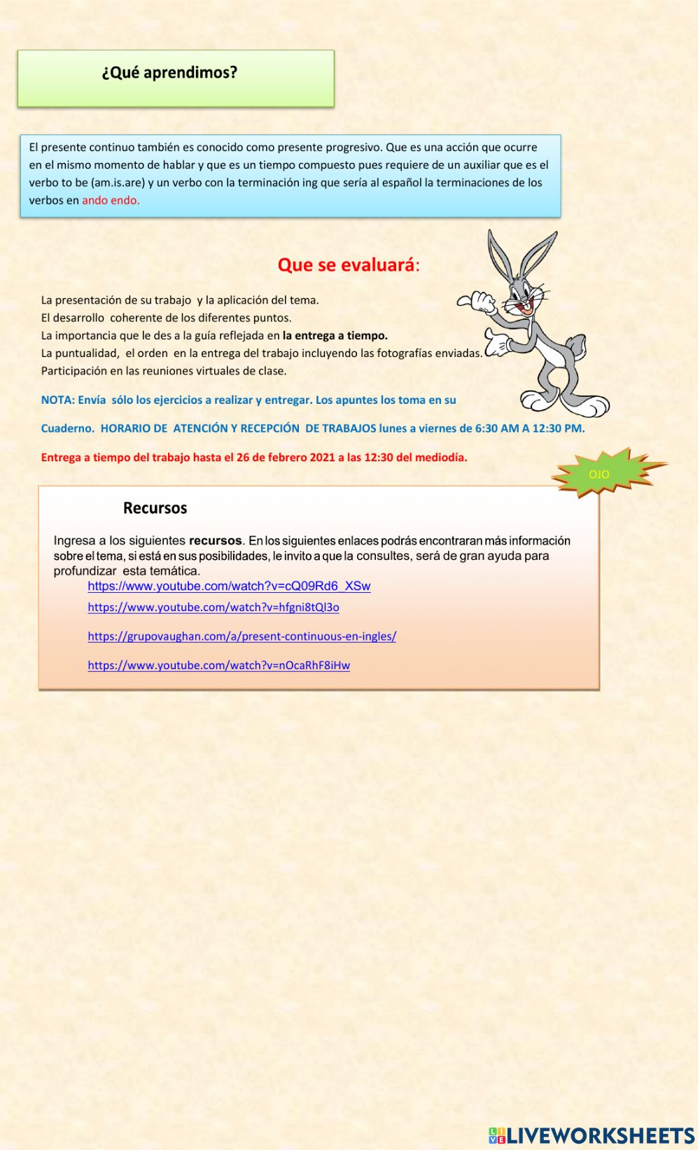 Present Continuous Tense Online Exercise For Secundaria