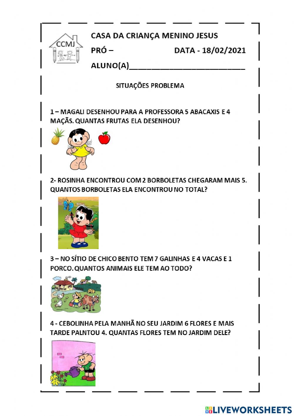 Problemas Matematicos Online Activity For 2º Ano