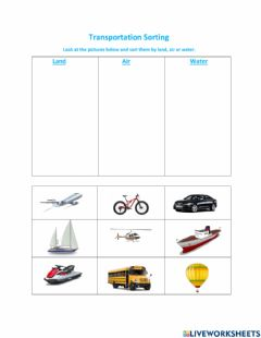 Ficha interactiva Transportation: Land, Air and Water