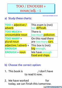 Interactive worksheet Too - enough - too much - too many + noun or adjective - basic - 1