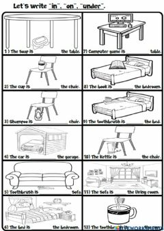 Interactive worksheet 3.6. My House - Prepositions