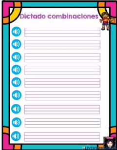 Interactive worksheet Dictado de Combinaciones Oraciones