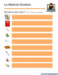Interactive worksheet Materiel Scolaire