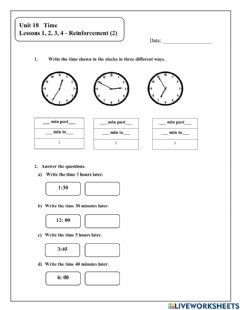 Interactive worksheet Time Unit 18 : Reinforcement
