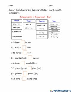 Interactive worksheet U. S. Customary Unit Conversion