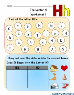 Interactive worksheet Letter H Worksheet