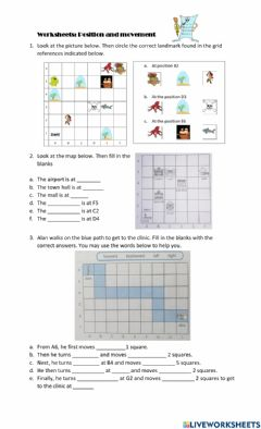 Interactive worksheet Position and movement