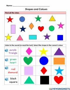 Interactive worksheet Shapes and Colours (Listening Activity)