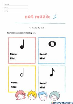 Interactive worksheet Notasi muzik dan nilai not