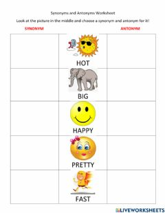 Ficha interactiva Synonyms and Antonyms Worksheet