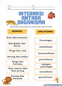 Interactive worksheet Interaksi Antara Organisma(2)