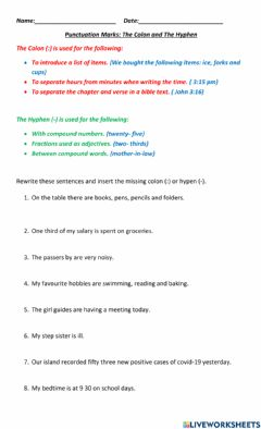 Interactive worksheet Punctuation: The Hyphen and The Colon